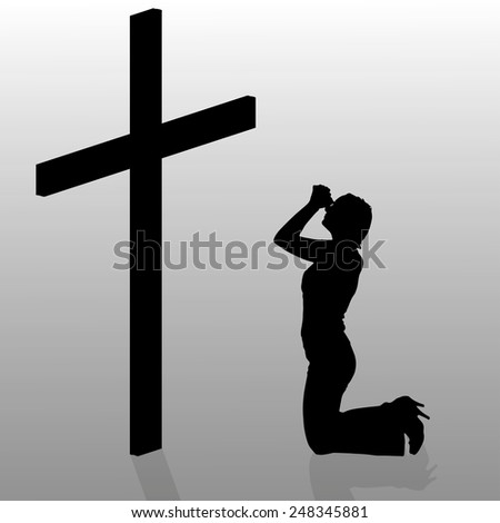Vector silhouette of a woman who kneels in front of a cross.