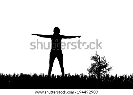 Vector silhouette of a woman who practices.