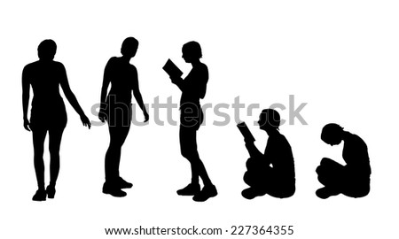 Vector silhouette of a woman who reads a book. - stock vector