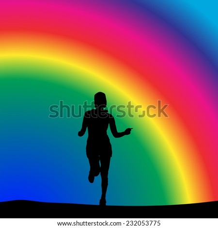 Vector silhouette of a woman who running in nature. - stock vector