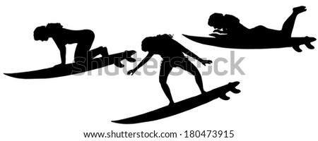 Vector silhouette of a woman who surfs.