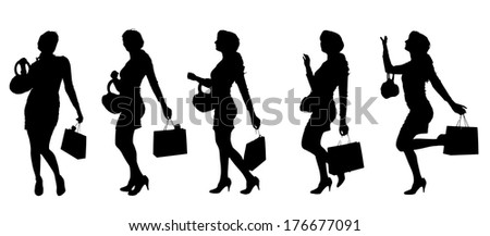 Vector silhouette of a woman with a bag on a white background.