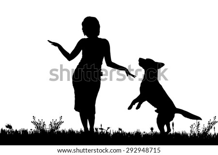 Vector silhouette of a woman with a dog on a meadow. - stock vector