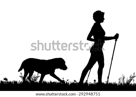 Vector silhouette of a woman with a dog on a meadow.