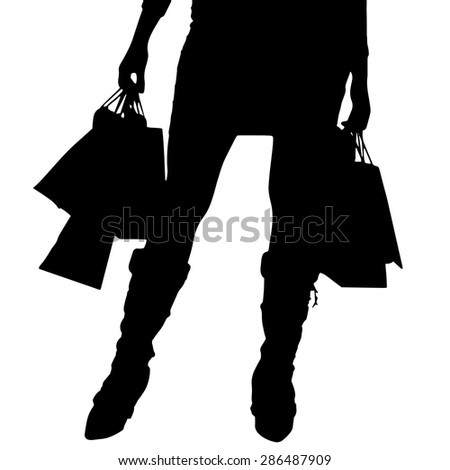 Vector silhouette of a woman with a shopping bag.