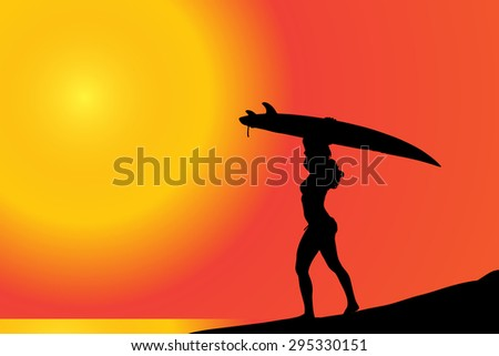 Vector silhouette of a woman with surfboard on the beach.