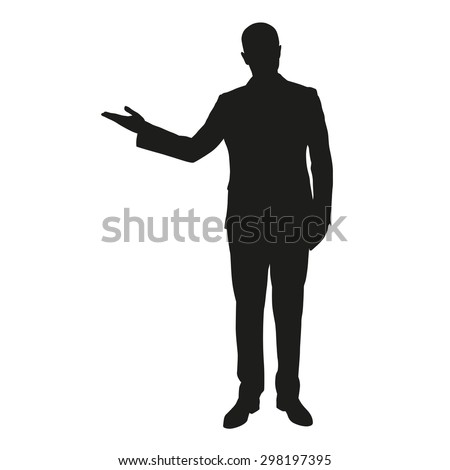 Vector silhouette of a young man in a suit during presentation - stock vector