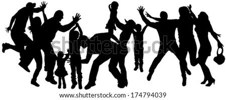 Vector silhouette of adult and children who dance. - stock vector