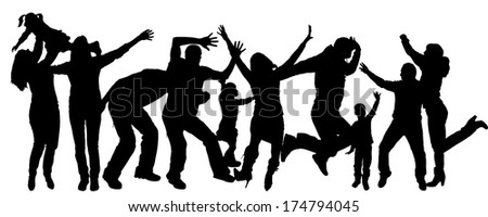 Vector silhouette of adult and children who dance.