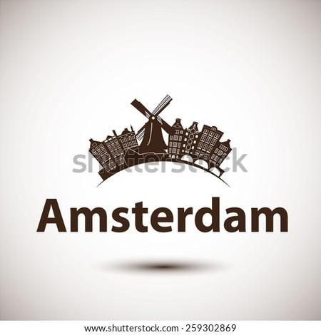 Vector silhouette of Amsterdam. City skyline. - stock vector