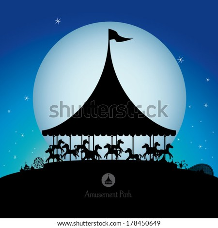 Vector silhouette of amusement park at night. - stock vector