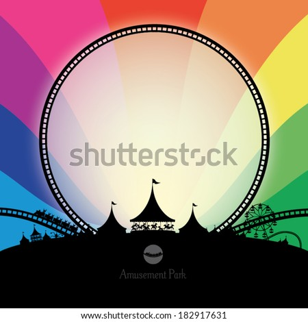 Vector silhouette of amusement park with rainbow background - stock vector