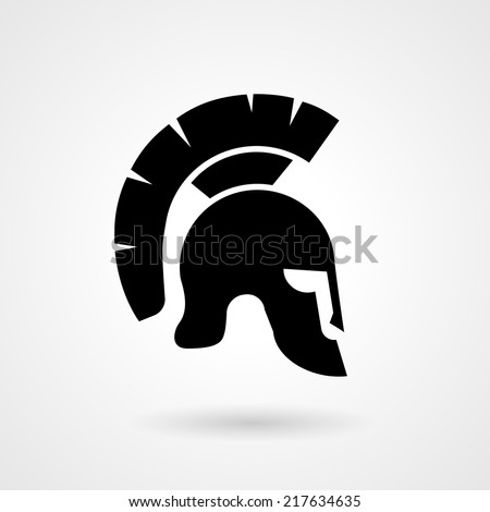 Vector silhouette of an ancient Roman or Greek helmet used in combat by soldiers of the legions with a long protective face piece and feathered crest - stock vector