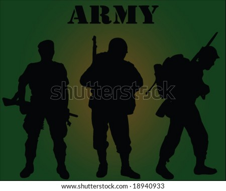 Vector Silhouette of army soldiers