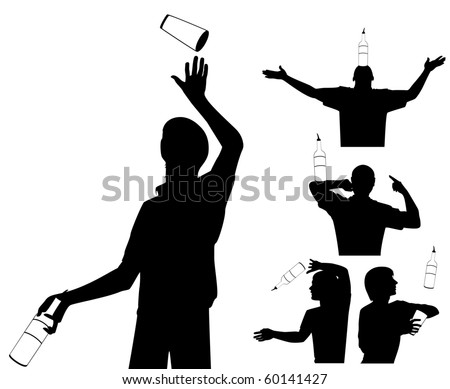 Vector silhouette of barman showing tricks with a bottle - stock vector