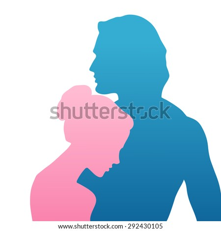 Vector silhouette of beautiful man and woman in profile - stock vector