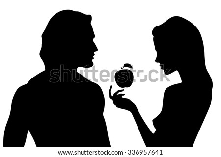 Vector silhouette of beautiful man and woman in profile. Adam and Eve and the forbidden fruit - stock vector