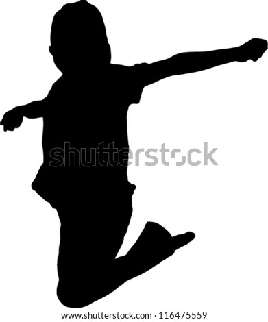 Vector Silhouette of boy jumping up in the air