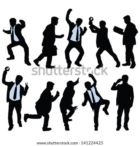 Vector silhouette of business people - stock vector