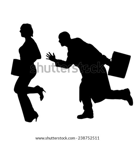 Vector silhouette of businesspeople on white background. - stock vector