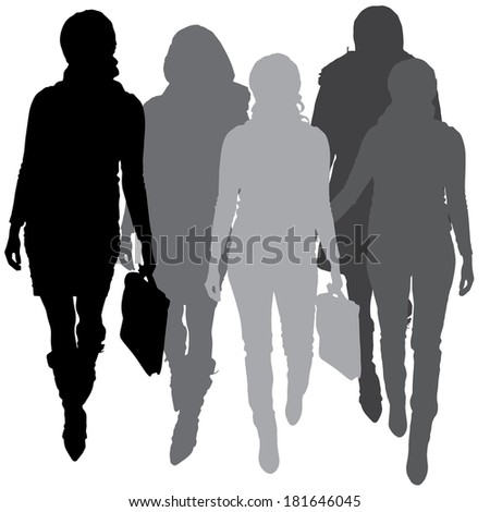 Vector silhouette of businesswoman a white background. - stock vector