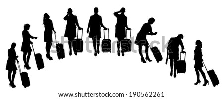 Vector silhouette of businesswoman on a white background.