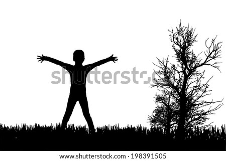 Vector silhouette of child in nature on white background.