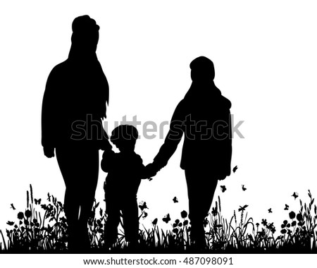vector silhouette of children holding hands