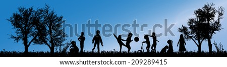 Vector silhouette of children in nature along the beautiful days. - stock vector