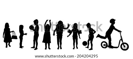 Vector silhouette of children on a white background. - stock vector