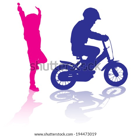 vector silhouette of children who play on white background. - stock vector