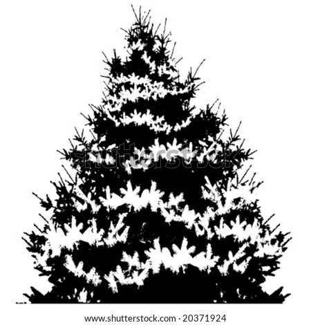 vector silhouette of christmas tree