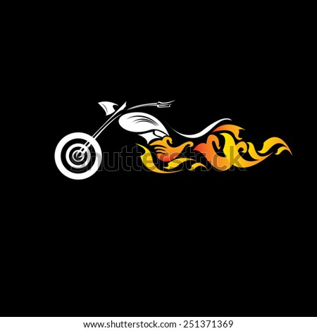 vector Silhouette of classic motorcycle on black background. motorcycle flat icon. freedom concept - stock vector