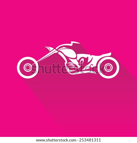 vector Silhouette of classic motorcycle on pink background. motorcycle flat icon. freedom concept - stock vector