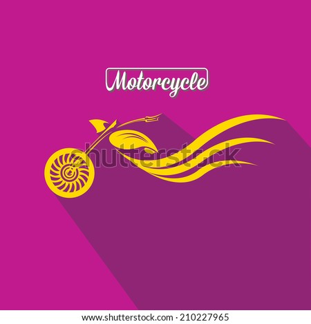 vector Silhouette of classic motorcycle on violet background. motorcycle flat icon. freedom concept - stock vector