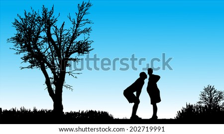 Vector silhouette of couple in nature along the beautiful days. - stock vector