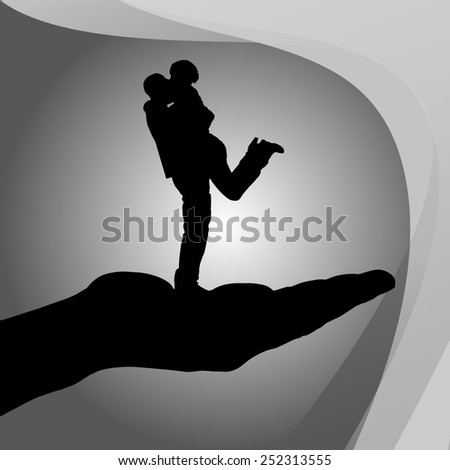 Vector silhouette of couple on palm on white background. - stock vector