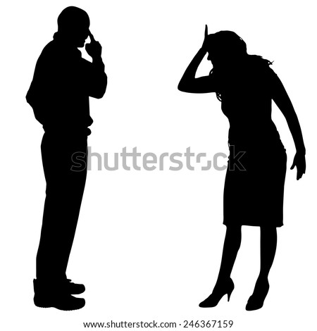 Vector silhouette of couple who argues on a white background. - stock vector
