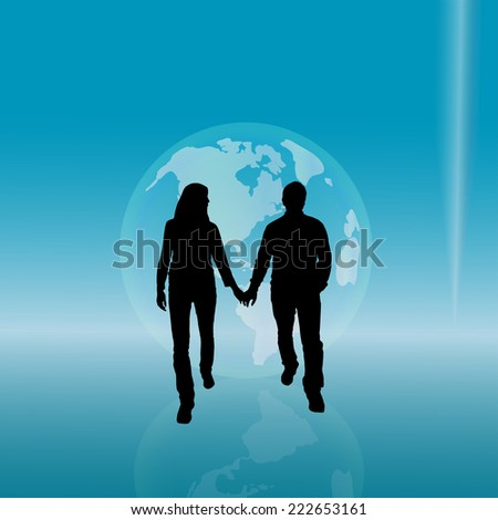 Vector silhouette of couple with globe on the blue background.