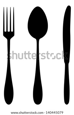 Vector silhouette of cutlery. - stock vector
