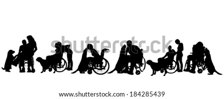 Vector silhouette of disabled people with a dog on a white background.