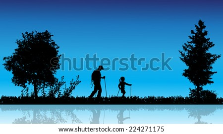 Vector silhouette of family in the countryside near a pond. - stock vector