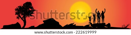 Vector silhouette of family on a hill at sunset. - stock vector