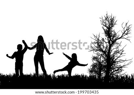 Vector silhouette of family on a white background.