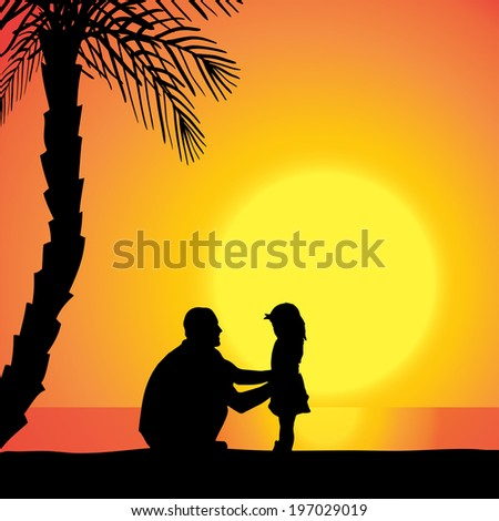 Vector silhouette of family on beach at sunset.  - stock vector