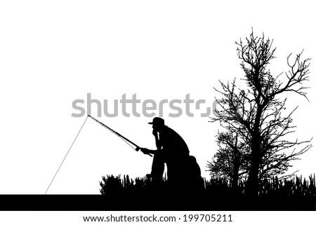 Vector silhouette of fishermen fish at the pond. - stock vector