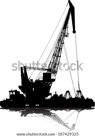 Vector silhouette of floating port crane - stock vector