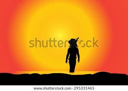 Vector silhouette of girl on a beach at sunset.