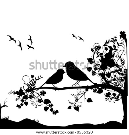 vector silhouette of grass and trees - stock vector