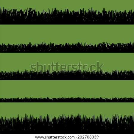 Vector silhouette of grass with flowers on a green background.